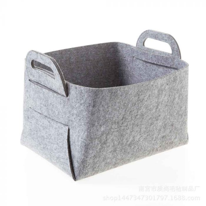 felt basket light gray