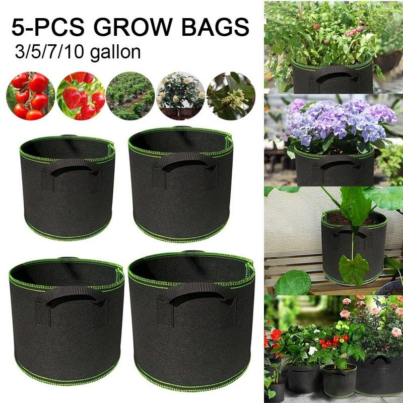 Set of 5 Breathable Non-Woven Fabric Grow Bags