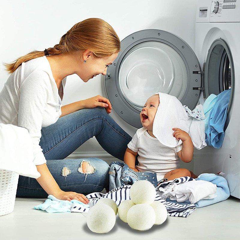 New 6pcs/Set 6cm/7cm Natural Wool Dryer Balls Fabric Virgin Reusable Organic Laundry Softener 6-Pack