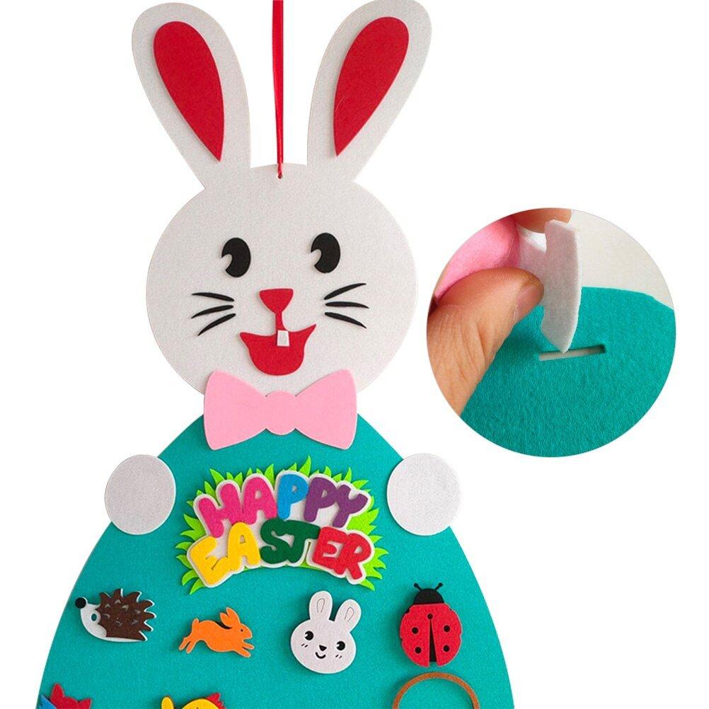 Felt Easter Rabbit DIY Felt Rabbit Set with Detachable Ornament Bunny Decoration Pendant Wall Hanging Game Easter Gift