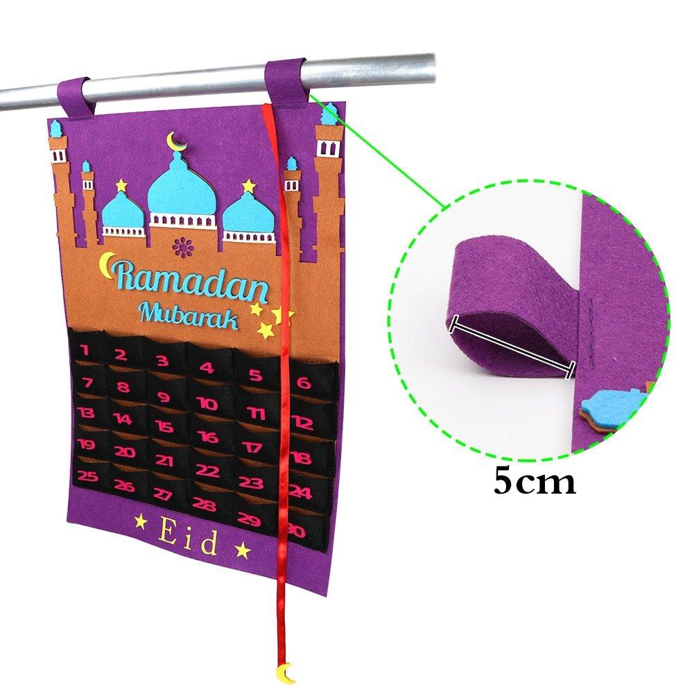 Eid Mubarak DIY Felt Ramadan Calendar with Pocket for Kids Gifts Countdown Calendar Muslim Balram Party Decor Supplies