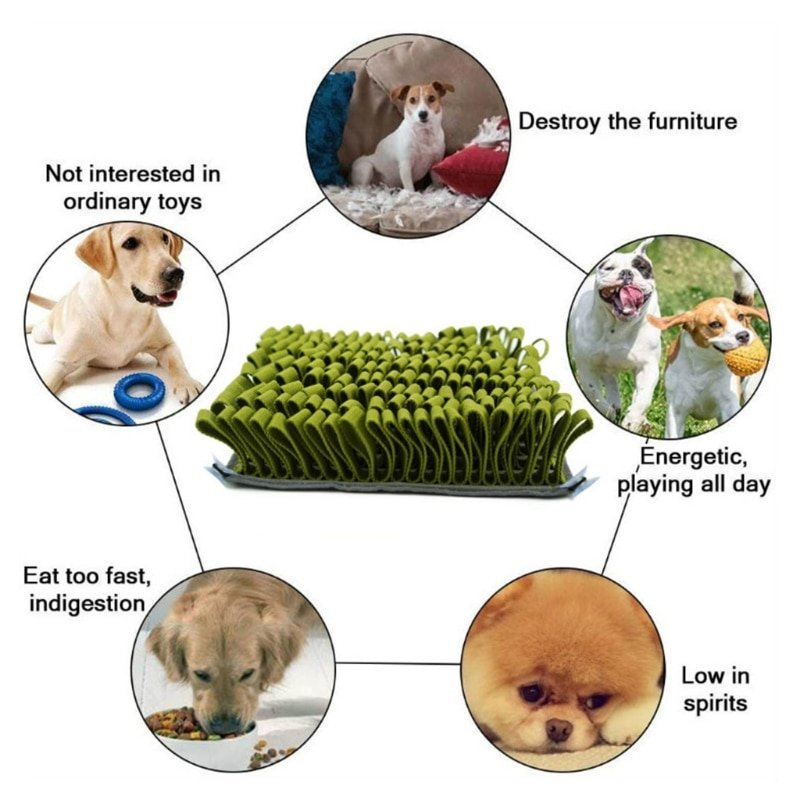 Pet Dog Sniffing Mat Find Food Training Blanket Play Toys Dog Snuffle Pad Slow Feeding Bowl Food Dispenser Carpet Puzzle Toy